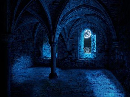 Fantasy, Vault, Moon, Monastery, Abbey, Columnar