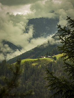 Mountains, Clouds, Sky, Landscape, Nature, Forest