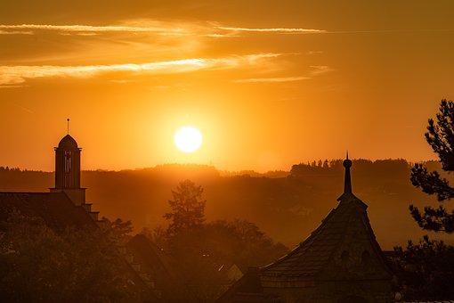 Sunset, Nature, City, Backlighting, Sunlight, Sun