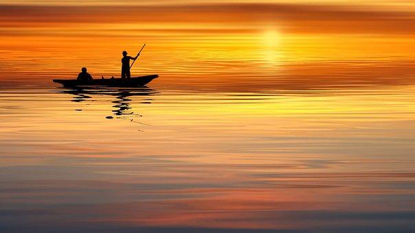 Sunset, Ocean, Boat, Human, Sea, Water, Sky, Nature