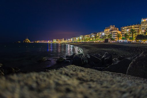 Spane, Blanes, Sea, Summer, Night, City, Spain, Street