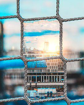 Berlin, City, Bokeh, Sky, Blue, Orange, Architecture