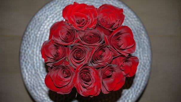Bunch, Roses, Bouquet, Romantic, Floral, Flower, Red