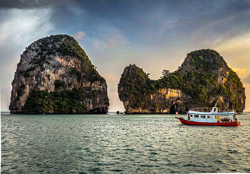 Thailand, Krabi, Mountains, Ship, Travel, Sky, Nature