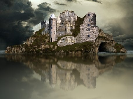Sea, Fortress, Lake, Reflection, Sky, Island, Clouds