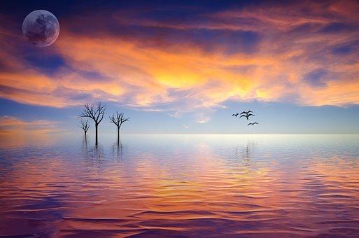 Still, Calm, Tranquil, Moon, Sunset, Sky, Ocean, Lake