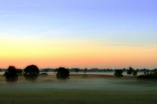 Fog, Morning Hour, Landscape, Sunrise, Morgenstimmung