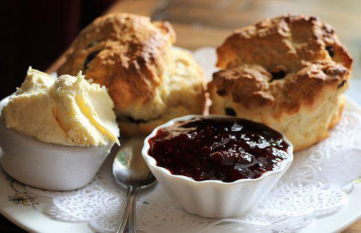 Scones, Creamtea, Cream, Jam, Food, Sweet, Dessert