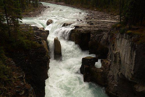 Athabasca Falls, Waterfall, Canada, Rocky Mountains