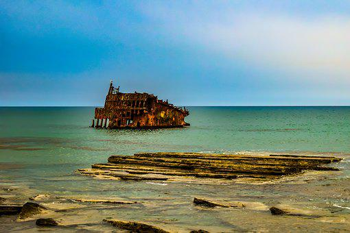 Shipwreck, Sea, Coast, Rocky, Wreck, Wreckage, Rusty