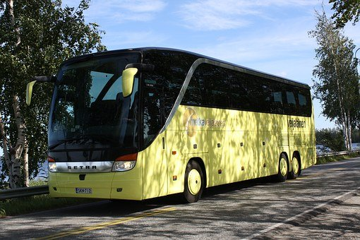 Bus, Yellow, Tour, Road, Setra, 416 Hdh