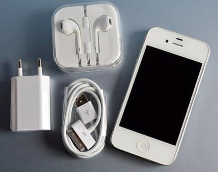 Iphone 4, Earphones, Charger, Cable, Apple, Cell Phone