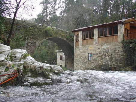 Arbo, Galicia, Spain, Medieval Bridge, Water Mill