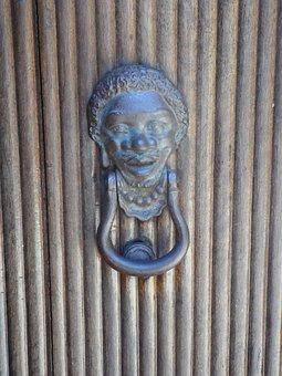 Doorknocker, Face, Call Waiting, Door, Intake, Brass