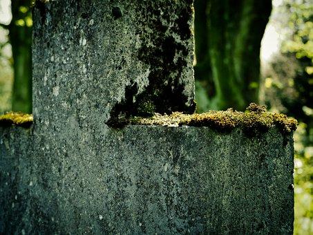 Cross, Moss, Stone Cross, Old, Cemetery Wall, Cemetery