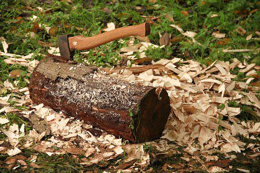 Axe, Log, Chips, Wood Chop, Ax, Forest Work, Make Wood