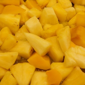 Pineapple Chunks, Fruit Salad, Chopped, Fruit, Sliced