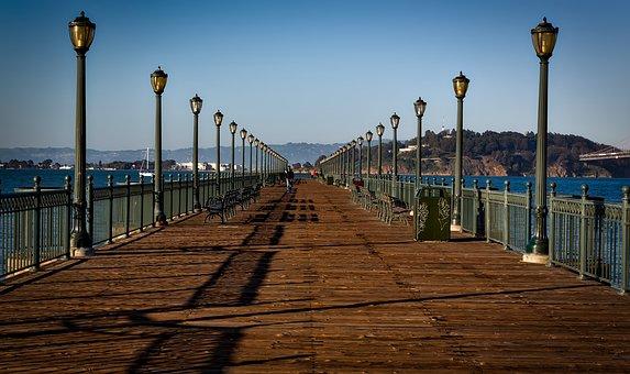 San Francisco, California, City, Urban, Pier, Lamppost