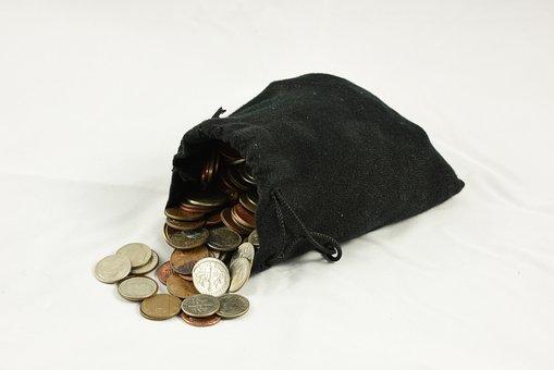 Bag Of Coins, Coin Purse, Money, Drawstring Bag, Pouch
