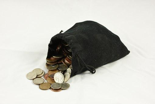 Bag Of Coins, Coin Purse, Money, Drawstring Bag, Pouch