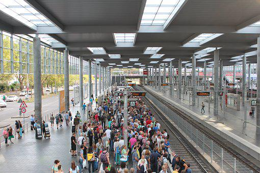 Railway Station, Group Of People, Platform, Crowds