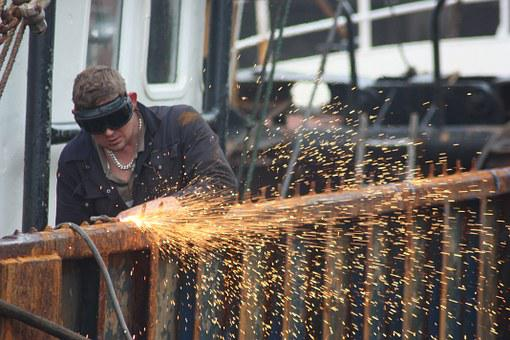 Ship, Cutting, Tools, Grinder, Goggles, Shipwright, Man