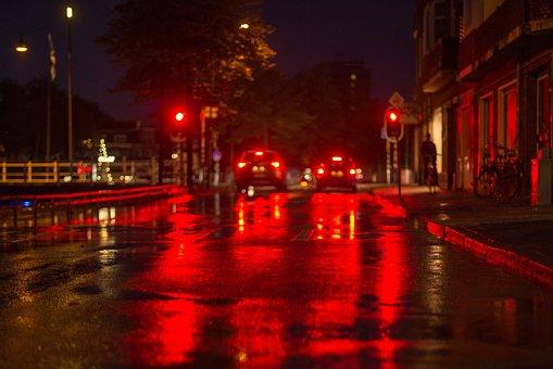 Street, Light, Red, Traffic, Night, Dark, Road, City