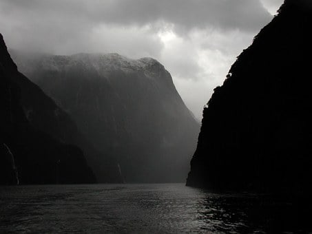 Mountains, Rivers, Foggy, Misty, Darkness, Water