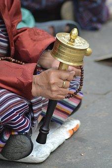 Monk, Prayer, Wheel, Religion, Buddhism, Faith