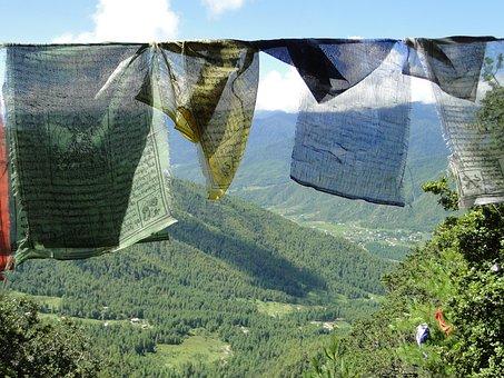 Prayer Flags, Mountain, Bhutan, Green Prayer