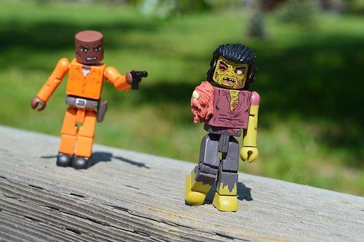 Zombie, Walking Dead, Gunman, Attack, Action Figures