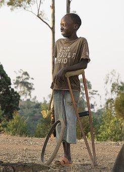 Child, Guy, Handicapp, Crutch, Smile, Destiny, Life
