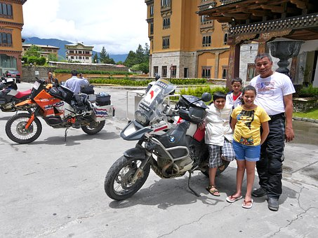 Thai, Family, Bikers, Bhutan, Asian, Happy, Together