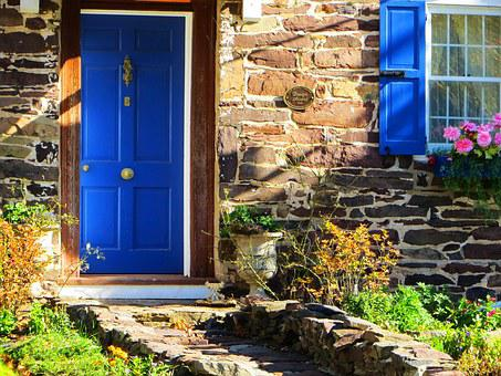 Country Home, Blue Door, Stone Home, Home, Country