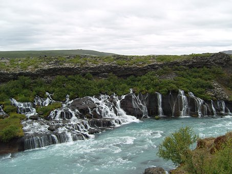 Iceland, Waterfalls, Turquoise, River, Bach, Landscape