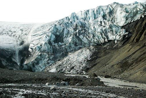 Iceland, Glacier, Torrent, Ice, Crevices