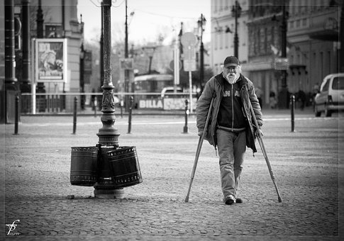 Man, Old, Old Man, Person, Crutches, Poor, Ill