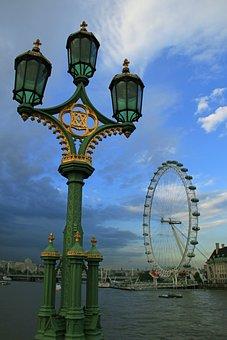 London Eye, Street Light, Thames, Cityscape, Uk, River