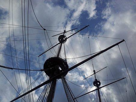 Sailing Ship, Mainmast, Vela, Sea, Mainsail, Strings