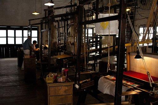 Wuzhen, Brocade Silk Weaving, Old, Memory, Wooden, Loom