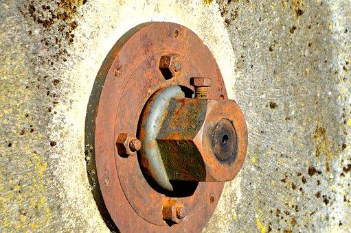 Mill Wheel, Screw, Hexagon Nut, Axis, Mill, Museum