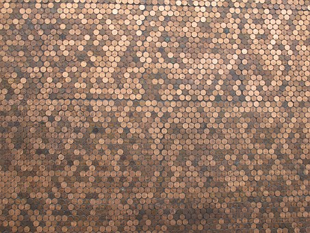 Pennies, Copper, Currency, Wall, Art, Coins, Panel
