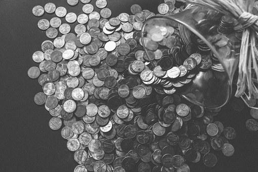 Coins, Pennies, Money, Currency, Cash, Finance, Banking