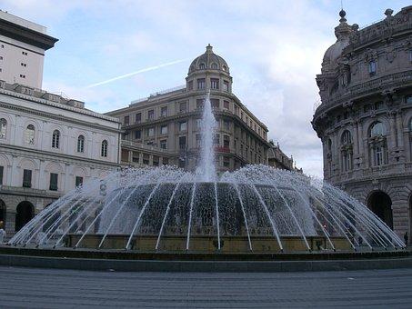 Genoa, Italy, Piazza De Ferrari, Fontana