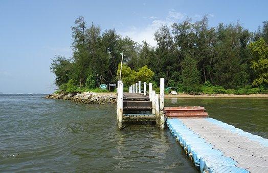 Jetty, Pier, Walkway, Estuary, Kali, River, Arabian Sea