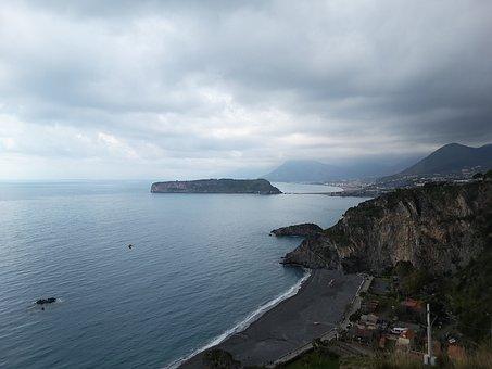 Praia-a-mare, Calabria, Italy, Landscape, Sea, Clouds