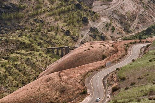 Landscape, Israel, Valley, Road, Bridge, Car, Hilly