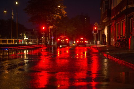 Street, Light, Red, Traffic, Night, Dark, Road, City