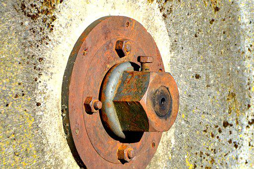 Mill Wheel, Screw, Hexagon Nut, Axis, Mill, Museum