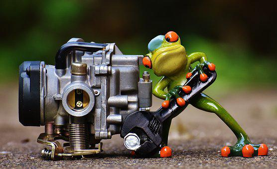 Frog, Mechanic, Screwdrivers, Carburetor, Fig, Wrench